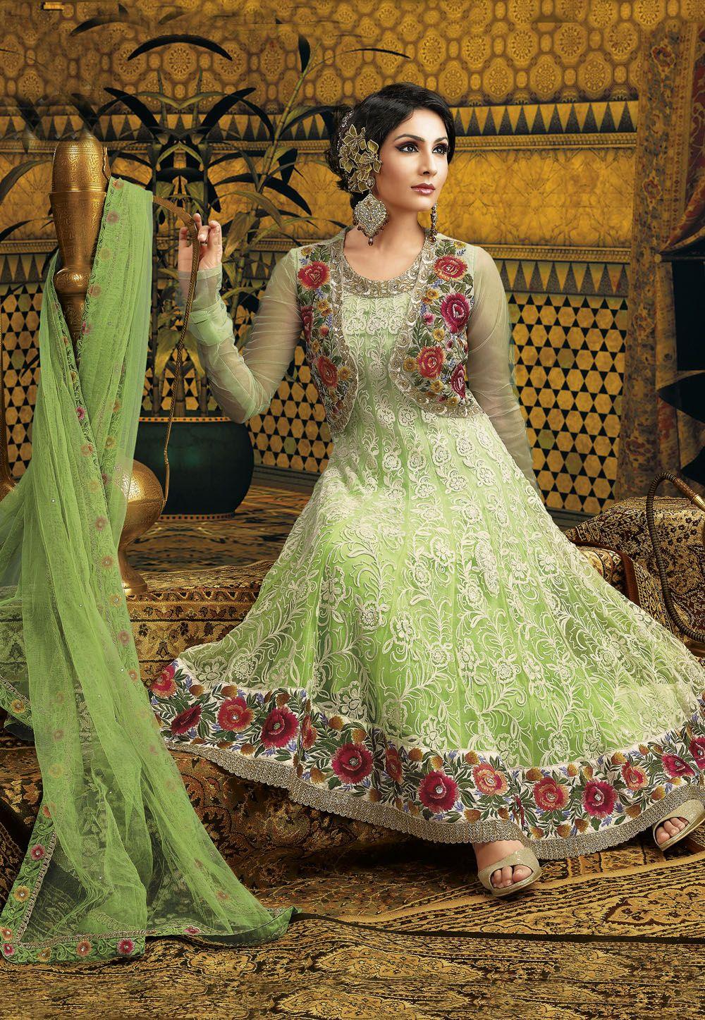 3c2f5168ef Shaded Light #Green Net Churidar #Anarkali Style Kameez | Best ...