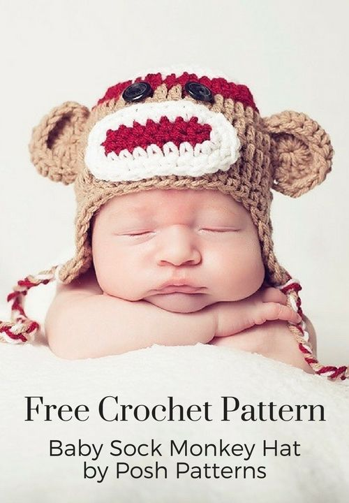 Crochet sock monkey hat pattern monkey hat crochet sock monkeys crochet baby sock monkey hat pattern posh patterns dt1010fo