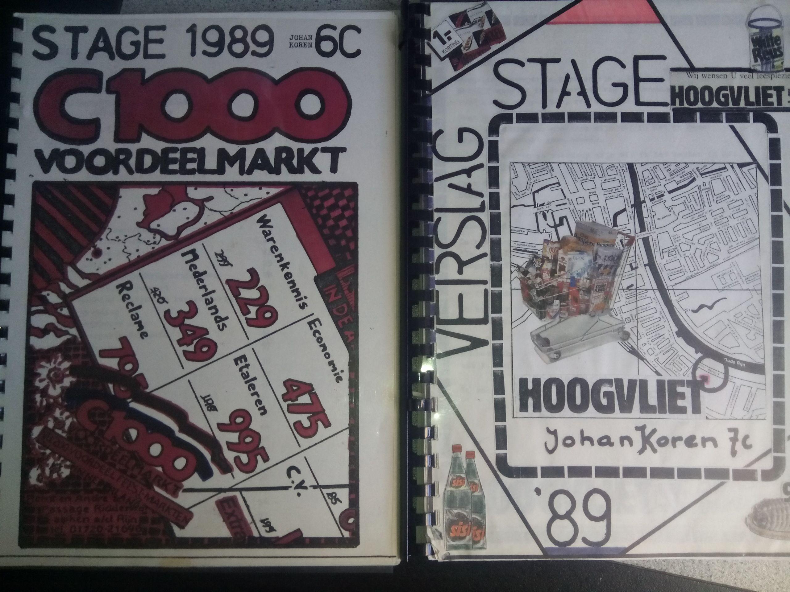 Tijdens mijn studie aan de Middelbare Detailhandel School liep ik twee periodes stage. De eerste bij C1000 , de tweede bij Hoogvliet. Van beide maakte ik een dik stageverslag.