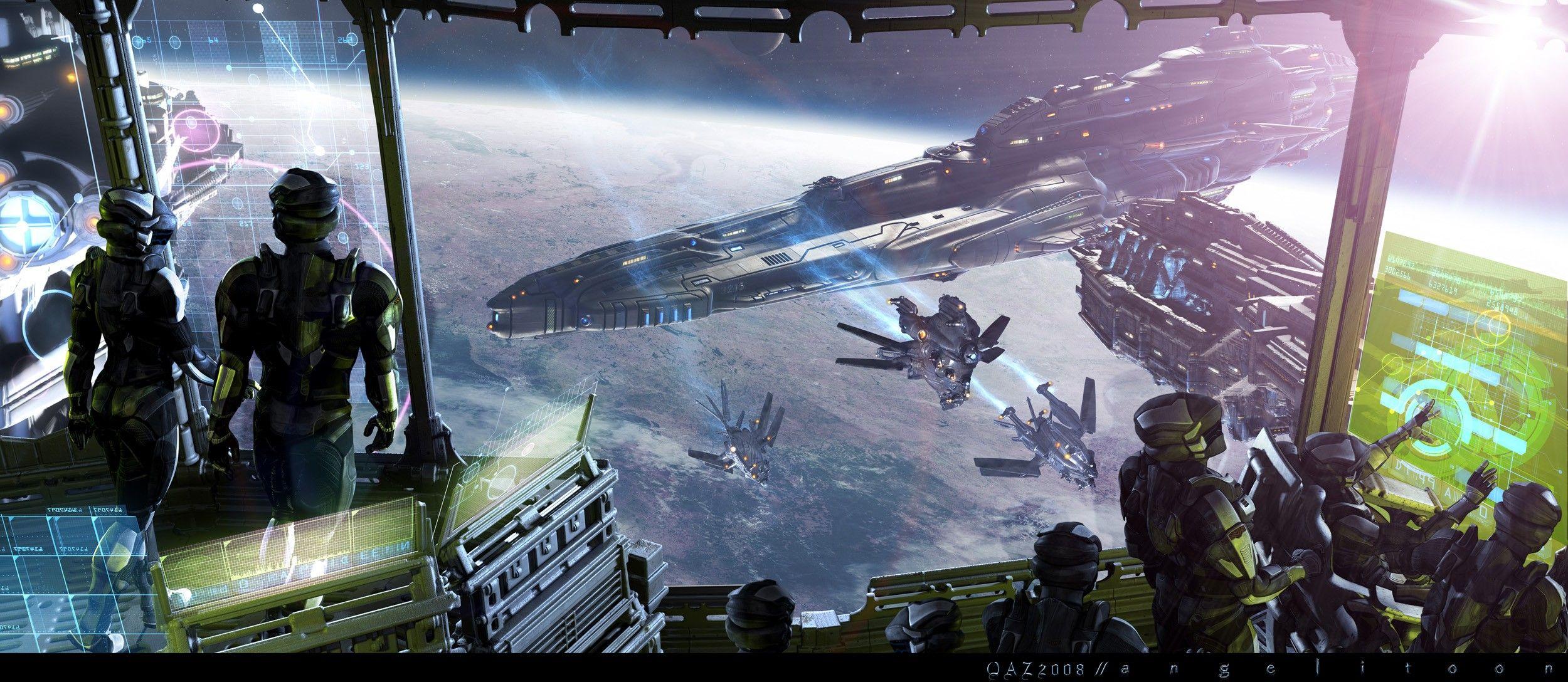 Spaceship Computer Wallpapers Desktop Backgrounds 2500x1088 Id 165325 Spaceship Art Background Images Art