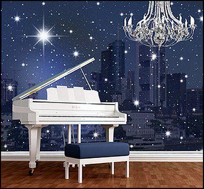 celestial themed wall murals kids rooms star bedroom moon rh pinterest com