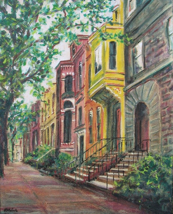 Brownstones new york painting new york canvas new york