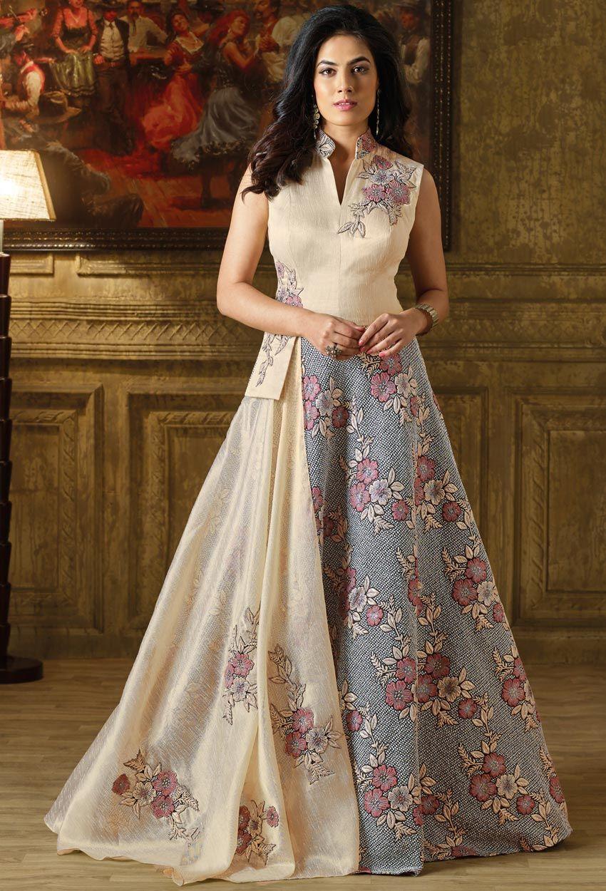 8b67646acdb2d Cream,Grey Art Silk Stylish Evening Gown in 2019 | Dressing Style ...
