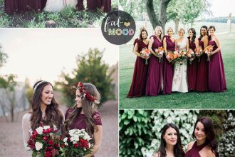 Burgundy bridesmaid dresses make your fall wedding stand out ...