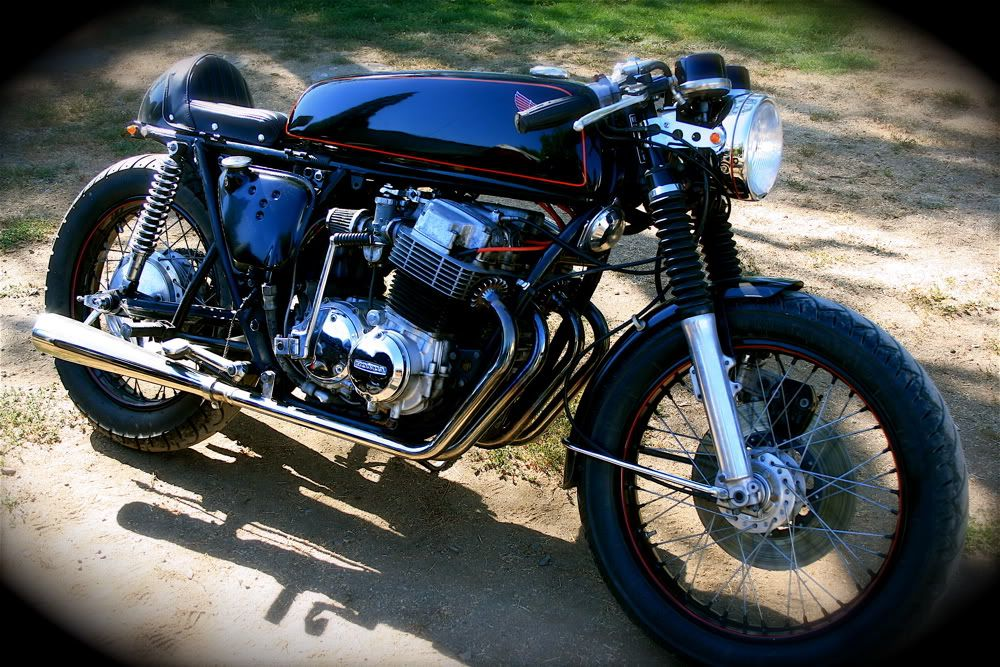 A very nicely done Honda 750 Cafe bike.  I would add a rear fender, but that is just me, most seem to want it off.  Notice the kick starter.