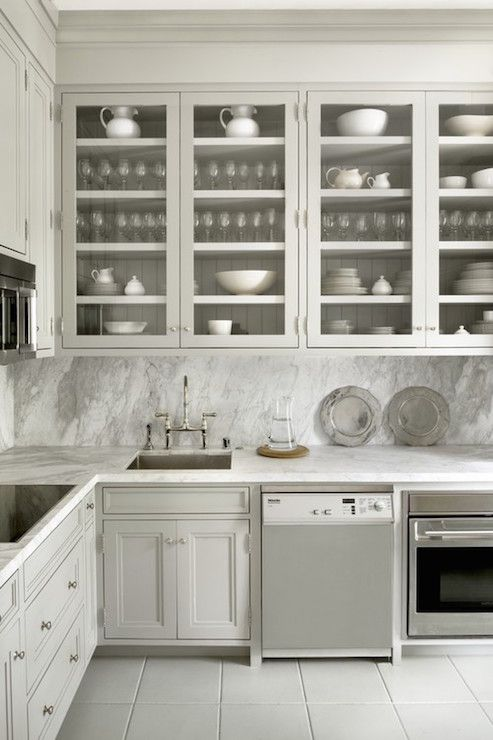 kitchen with glass front cabinets transitional kitchen cynthia rh pinterest com