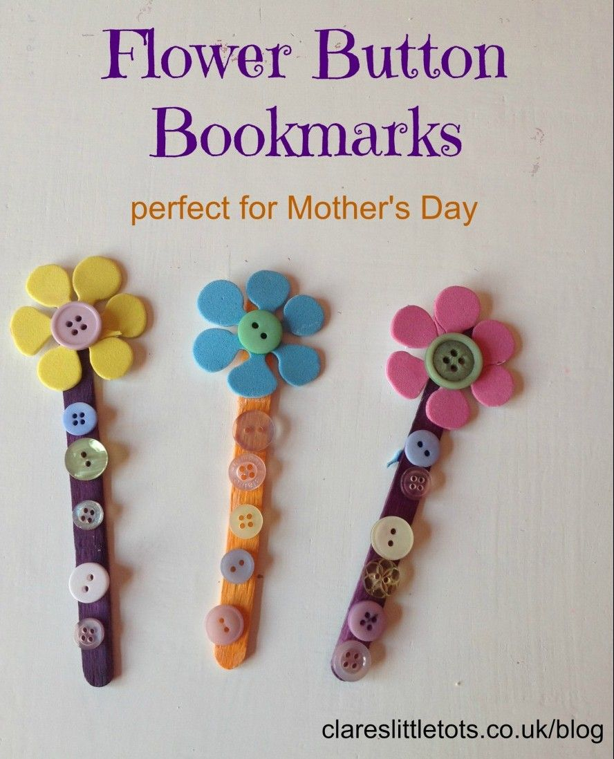 Button bookmarks bookmarks 50th and gift for Mother s day projects for preschoolers