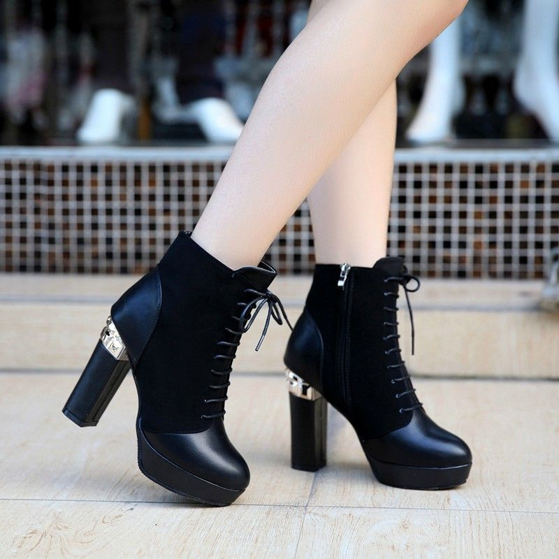 Womens High Chunky Heels Platform Pumps Lace Up Ankle Booties Black US