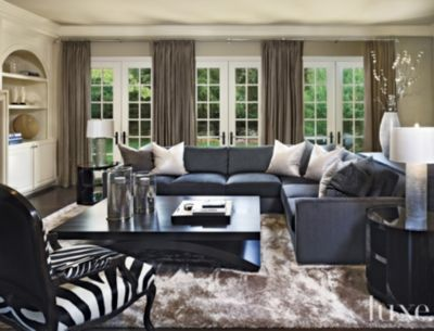 Fluffy Rug, Zebra Chair, Neutral Window Treatments, Oversized Cocktail  Table · Beautiful Living RoomsContemporary ...