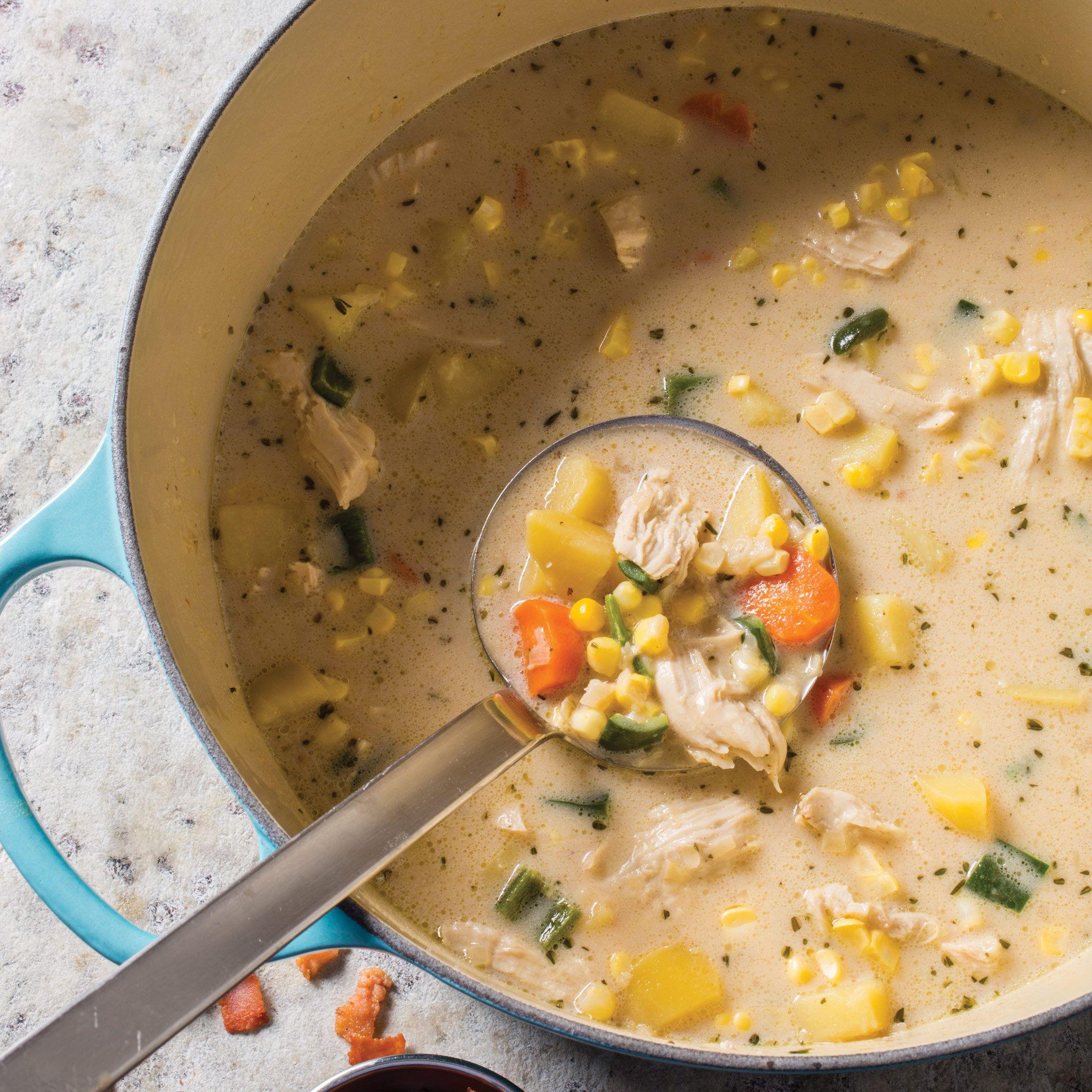 farmhouse chicken chowder with corn poblano chile and cilantro rh pinterest com