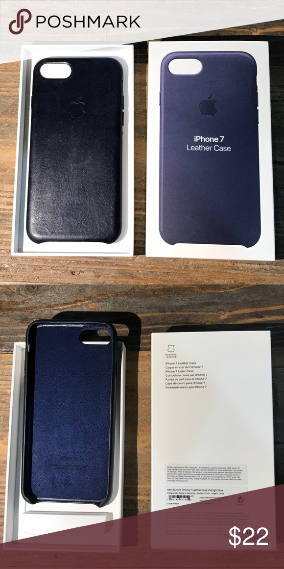 hot sale online 1571b 8fa84 IPhone 7 leather case Midnight blue, still in terrific condition for ...