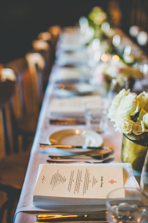 Menu and place setting wedding Cafe Morso