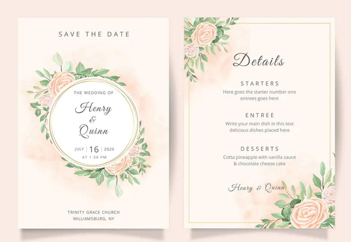 Beautiful Floral Wedding Invitation Card Template Wedding Invitation Card Template Floral Wedding Invitations Floral Wedding Invitation Card