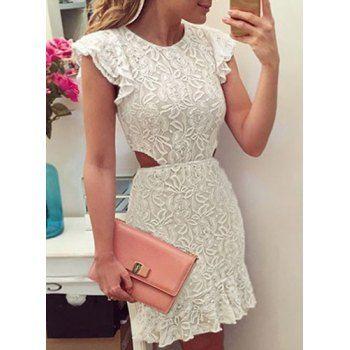 White lace cutout dress