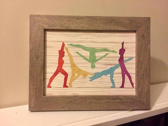 Mini Rainbow Silhouettes Gymnastics Skills Motion Wall Art Decor ...