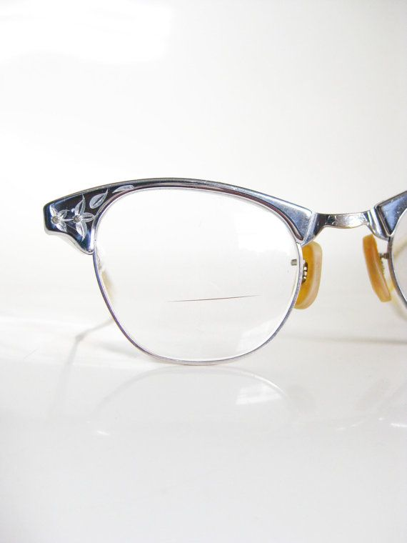 46e8f5b489 Vintage 1950s Eyeglasses ART CRAFT Cat Eye Glasses 50s Rockabilly Optical  Frames Silver Chrome Metallic Shiny