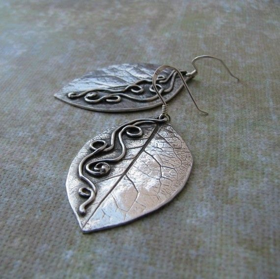 Photo of Items similar to Precious Metal Clay Artisan Earrings, Fine Silver Leaves, Handmade OOAK on Etsy