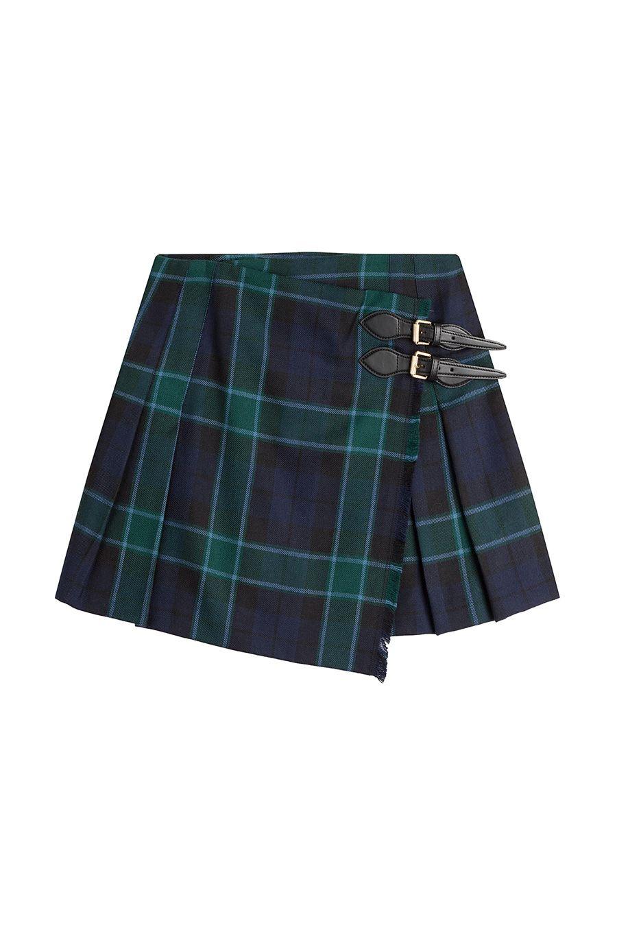 b86d3e2538 Green Pleated Tartan Skirt