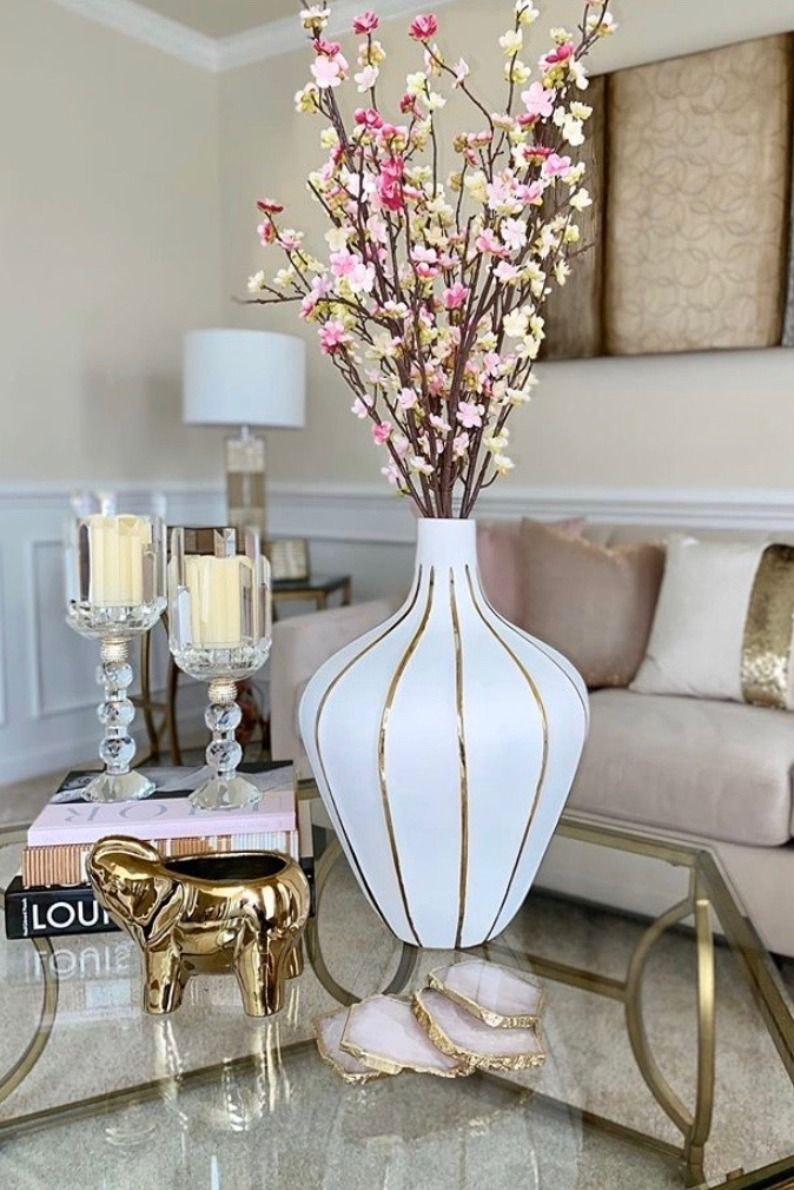 Gold Elephant Candle In 2020 Table Decor Living Room Glam Living Room Decor Room Decor #tall #table #for #living #room