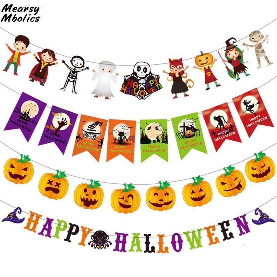 Halloween Decoration Party Banner Cartoon Bat Pumpkin Characters
