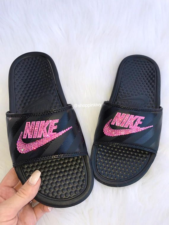 Brand New Womens Swarovski Nike Benassi JDI Swoosh Slide Sandals. Nike Logo  is customized with fabulous Swarovski Crystal Rhinestones! SHIPS IN 2-3  WEEKS! 0558e6ff9