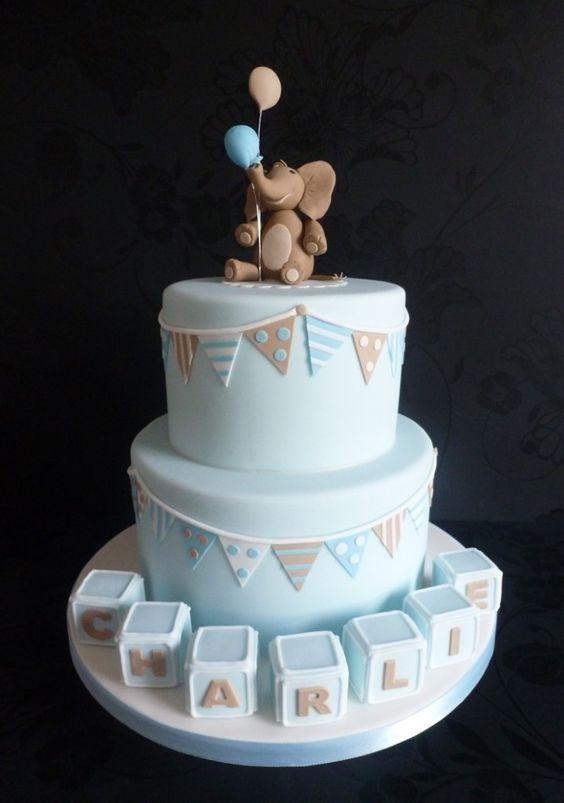 Elephant and Bunting Christenning Cake