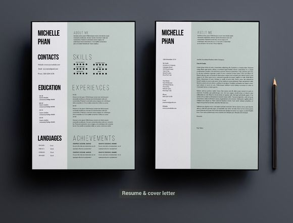 1 page CV template (minimal design) by Chic templates on - pages templates resume