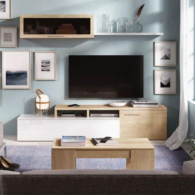 Meuble Tv Bicolore Avec Rangements 200 X 44 Cm Et Etagere Murale