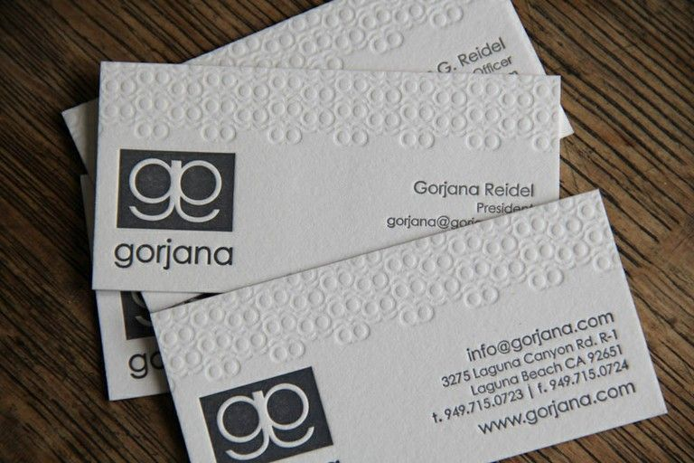 Business Cards For Gorjana Designs Crane Lettra 600gsm Pearl White With Blind Impress Letterpress Business Cards Embossed Business Cards Business Card Gallery