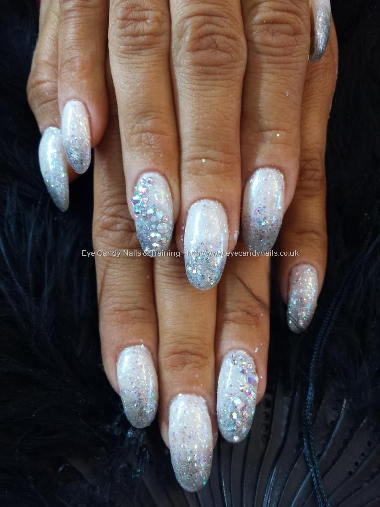 white and silver glitter fade with swarovski crystals | nails