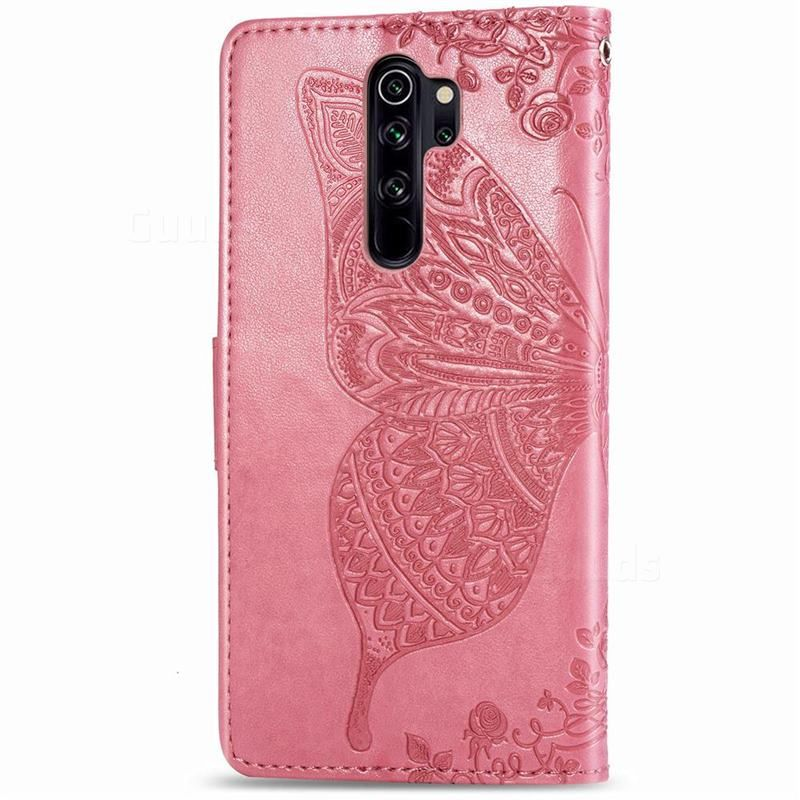 Embossing Mandala Flower Butterfly Leather Wallet Case For Mi Xiaomi Redmi Note 8 Pro Pink Xiaomi Redmi Note 8 Pro Cases Guuds Leather Wallet Case Wallet Case Flower Mandala
