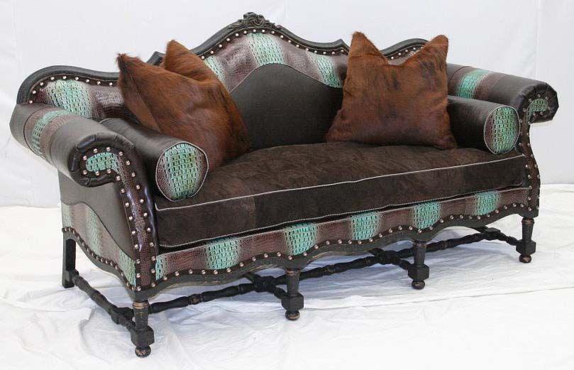 aqua croco accented sofa western sofa loveseats love seat rh pinterest com