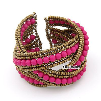 Plus Size Gold Color Wide Open Design Alloy Fashion Bangles  www.asujewelry.com