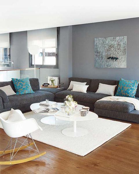 Coin salon en gris et bleu | appartement | Pinterest | Living Room ...