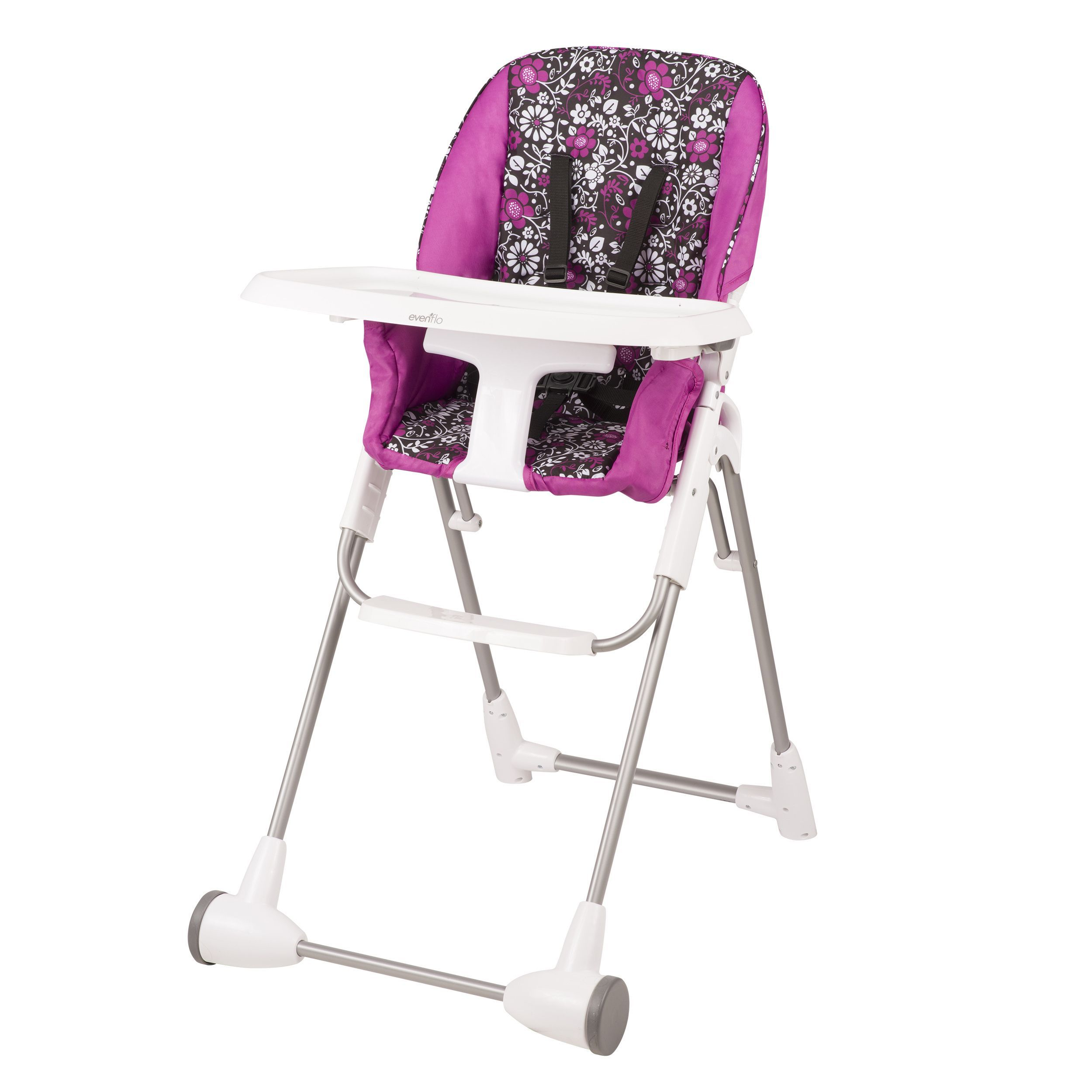 Evenflo Symmetry Flat Fold High Chair In Daphne Daphne Pink Seat Pads Chair Cool Baby Stuff