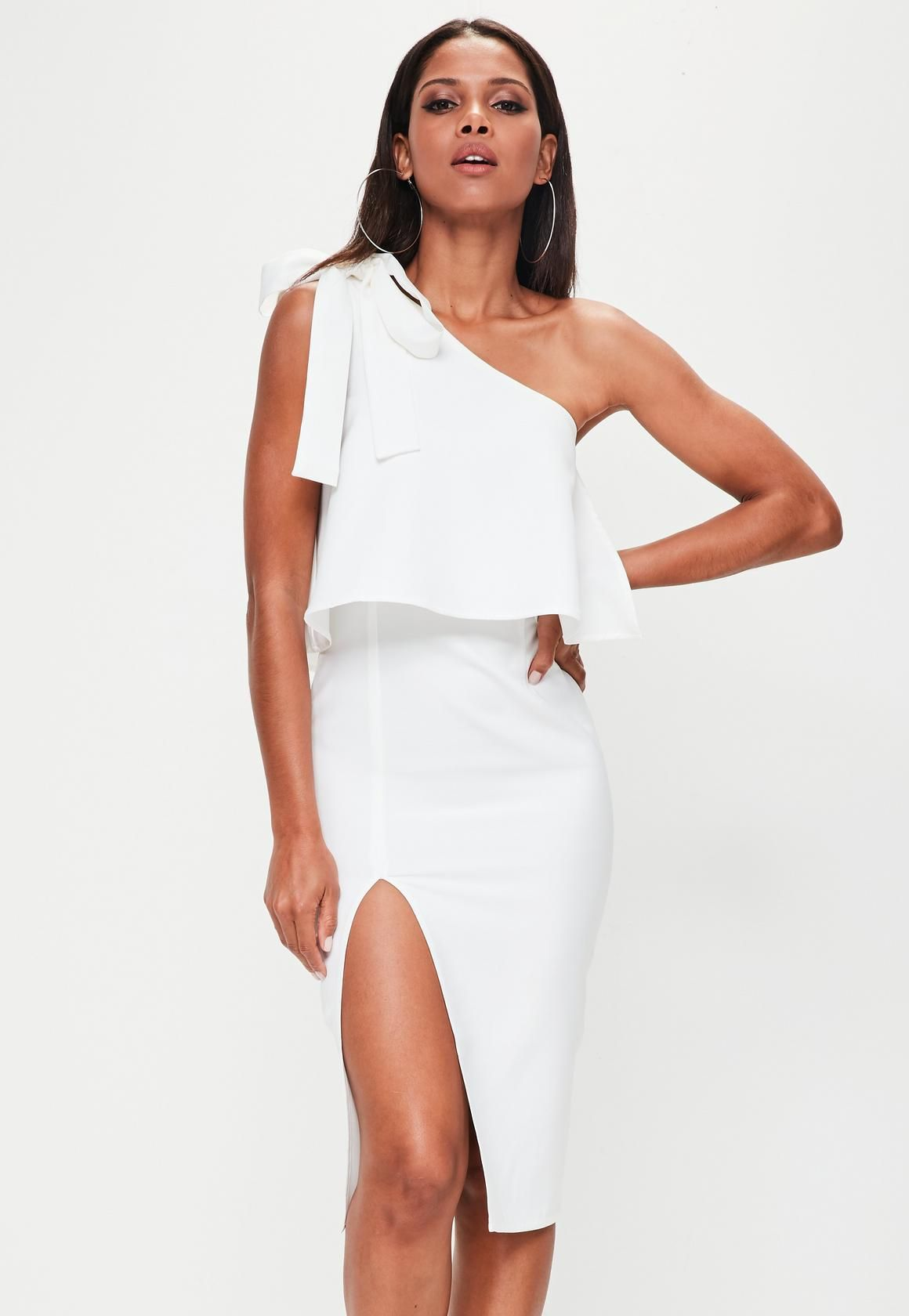 43021ff9526 Missguided - White Crepe One Shoulder Bow Sleeve Midi Dress | The ...