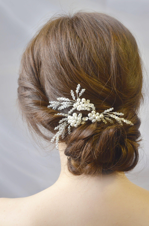 Rhinestone Comb Silver Wedding hair pins Bridal Hair pin Bridesmaid hair pin Wedding Hair Vine Pearl Headpiece Gift Pearl Hair pins