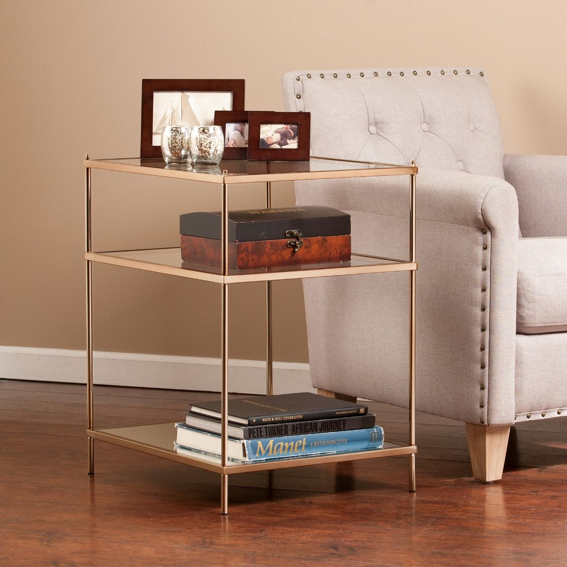 Knox Side Table In Warm Gold Southern Enterprises Oc2204 In 2020