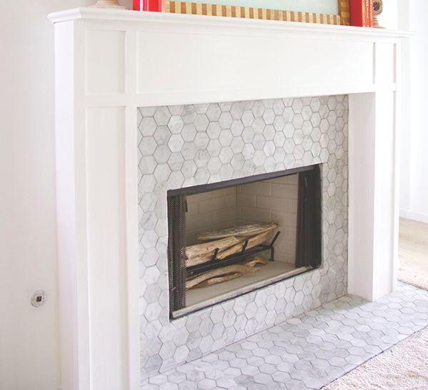 Carrara Bianco 3 Hexagon Mosaic Tile Fireplace Fireplace Tile