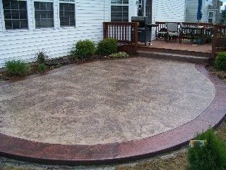 Stamped Concrete Patio Along Entire Rear Of House With Firepit?