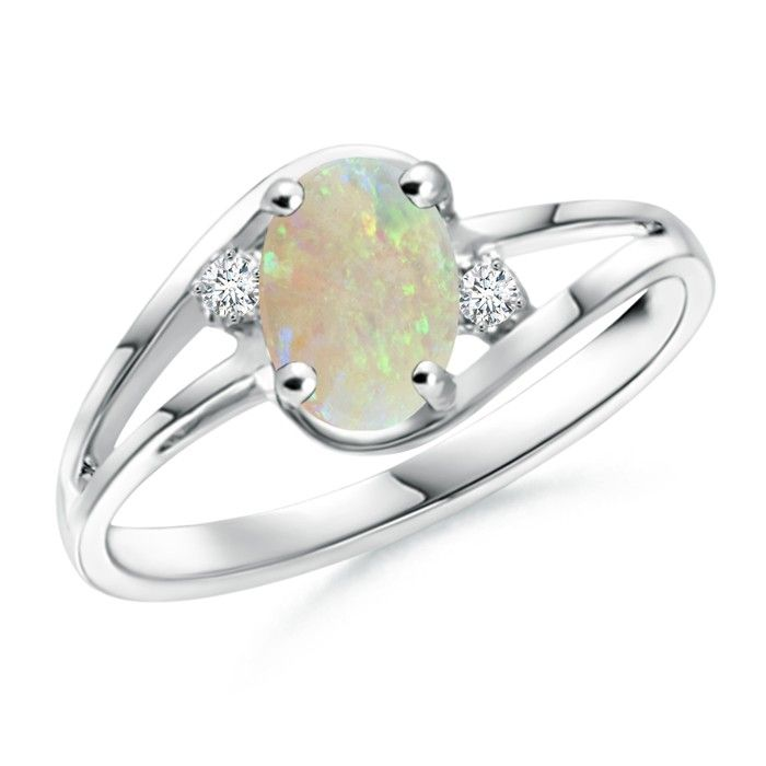 Angara Solitaire Pear Cabochon Opal Split Shank Ring in 14k Rose Gold mroTso61E