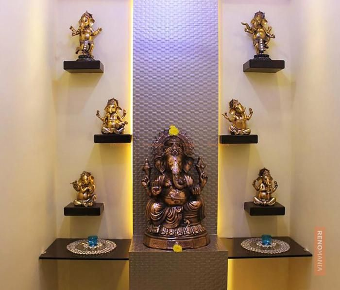 Cream Wall In Puja Room Kitchen Pinterest Puja Room Living Room Decor And Pooja Room Design