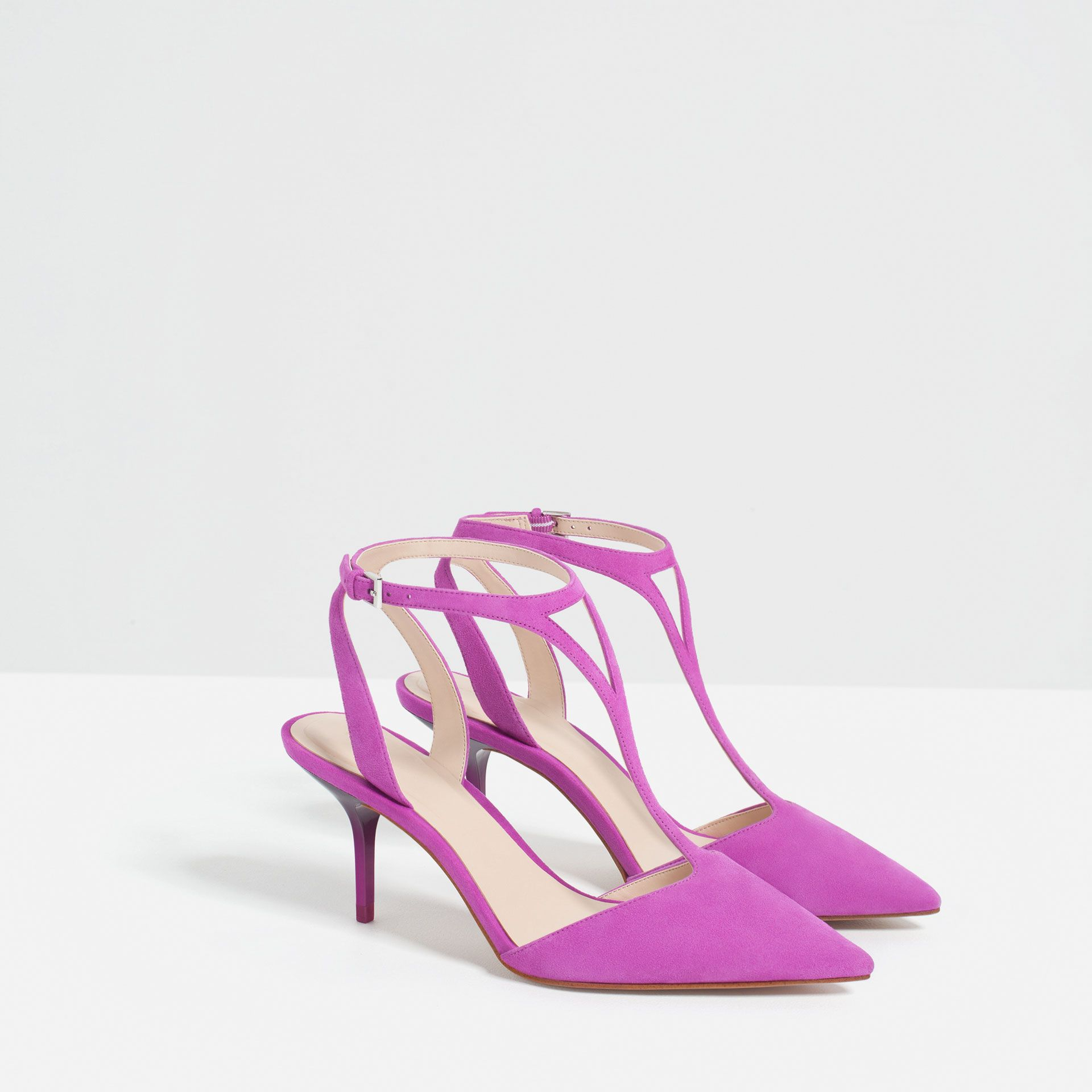 3453802b30f Image 5 of MID HEEL LEATHER SHOES WITH ANKLE STRAP from Zara