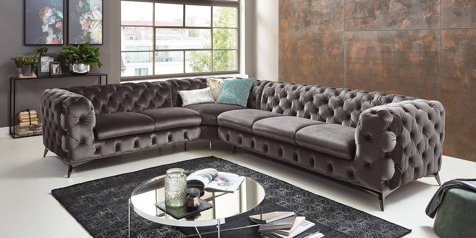 Chesterfield Ecksofa Grau Samt Big Emma Spiegelverkehrt 1 In 2020 Chesterfield Ecksofa Ecksofa Sofa