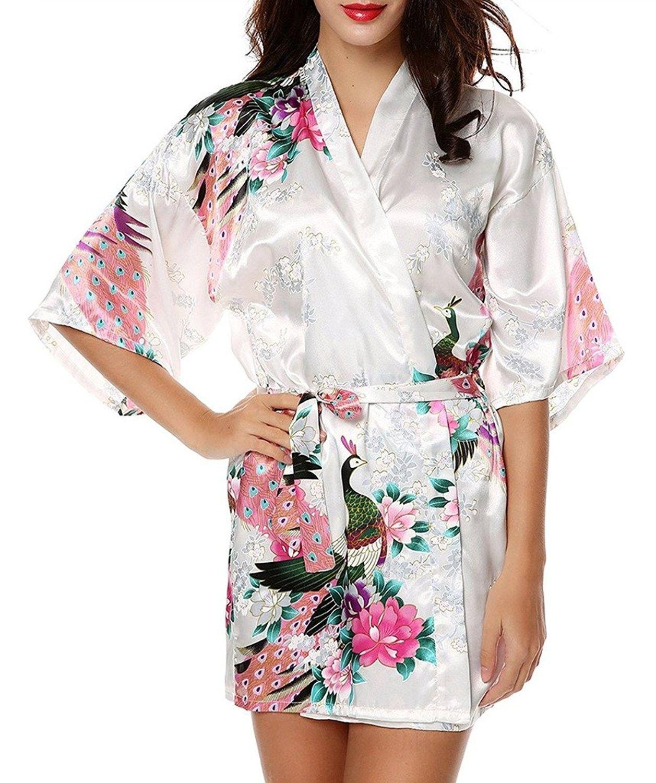 37d6c7123f Womens Kimono Robes Peacock and Blossoms Silk Nightwear Short Style - White  - CR12O5CPHLV