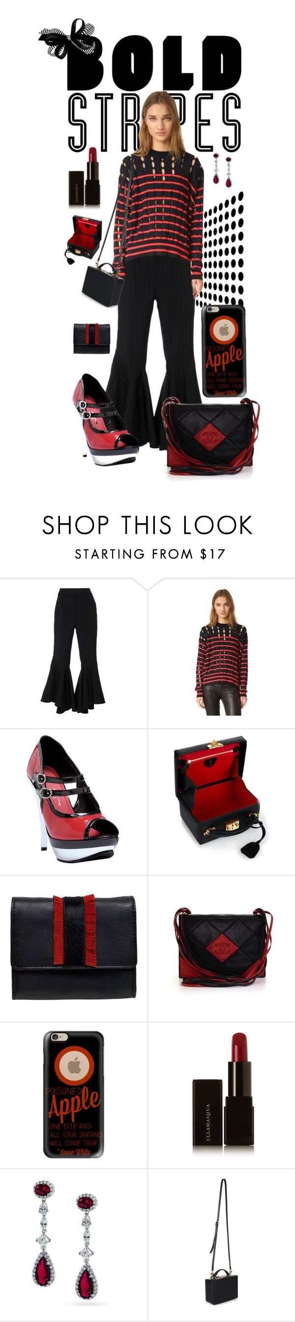 """Red & Black Bold Stripes"" by fsg-designs ❤ liked on Polyvore featuring E L L E R Y, T By Alexander Wang, Ellie, Mark Cross, Chanel, Casetify, Illamasqua, Bling Jewelry and BoldStripes"