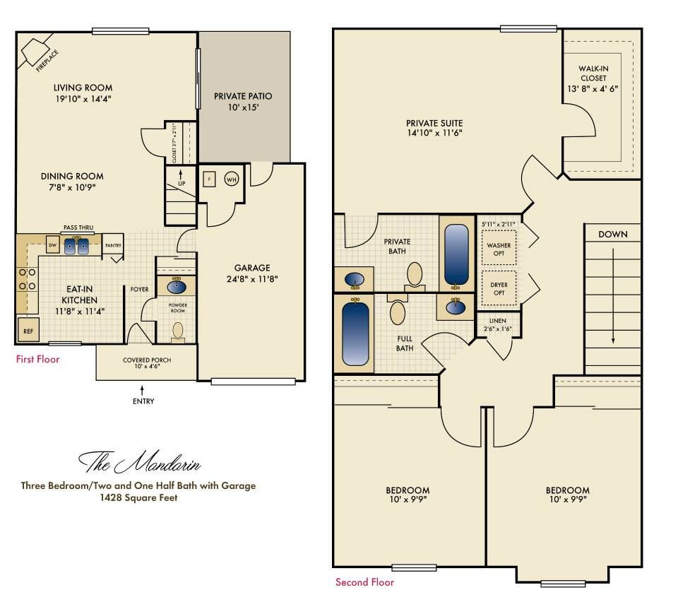 2 Bedroom Apartment Near Me Rent: A Floorplan Of One Of Our Lovely Townhomes!