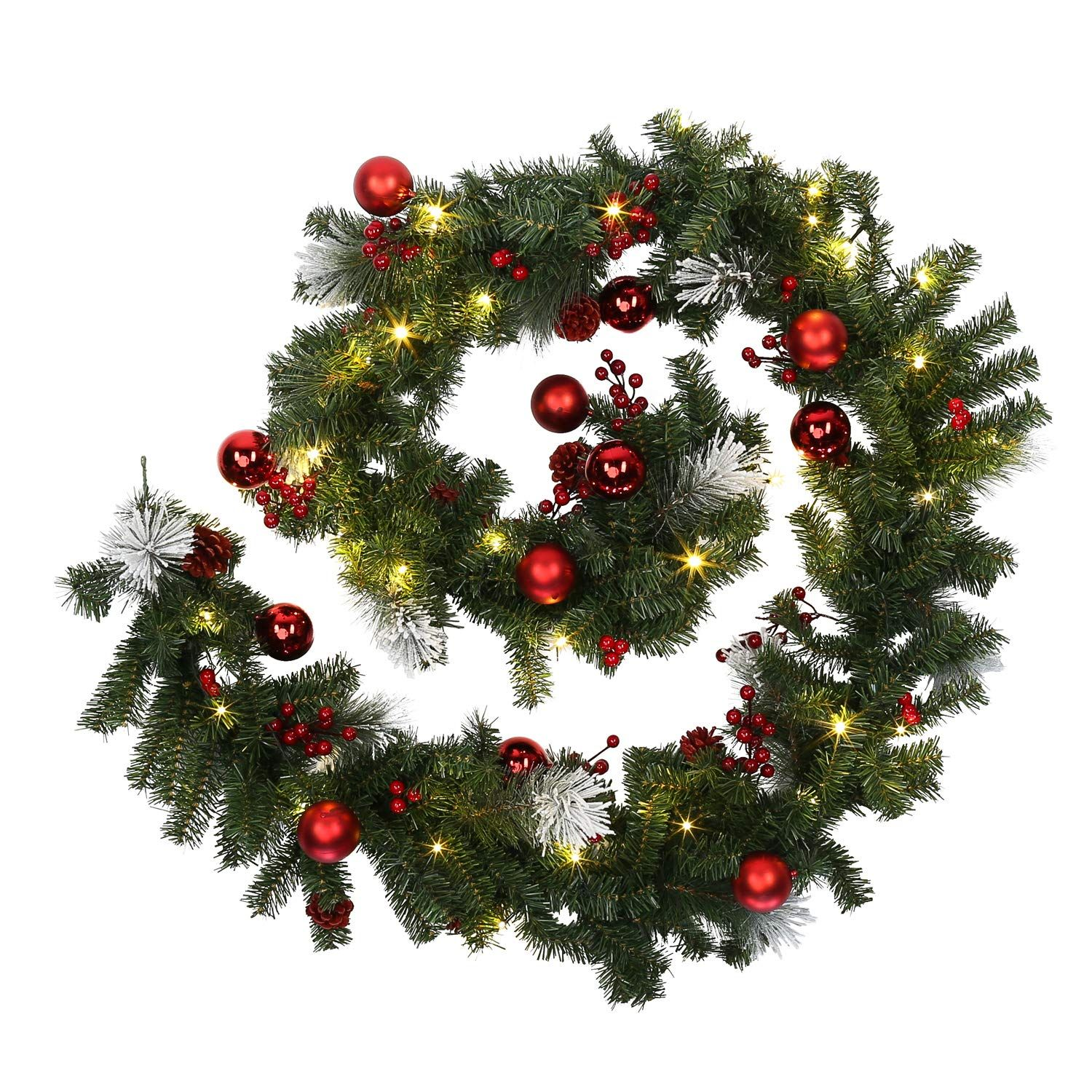 Jaymark Products Matching Red Green Christmas Garland Or Wreath Decorated With Pre Lit Led Warm Whi Red Green Christmas Christmas Decorations Christmas Garland