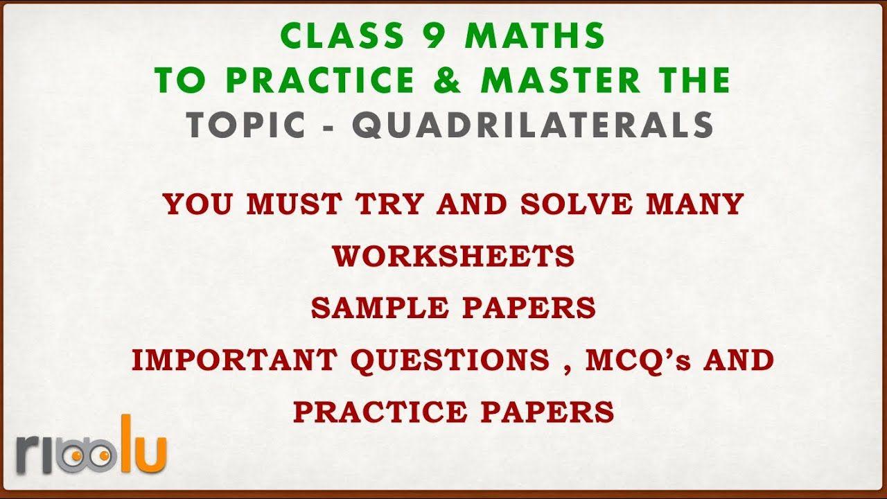 hight resolution of Quadrilaterals - Class 9 Mathematics - Chapter 8