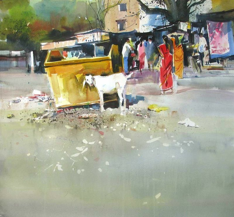 Milind Mulick Watercolour Paintings    -Well this looks familiar, I feel like I would see this here in Kosovo